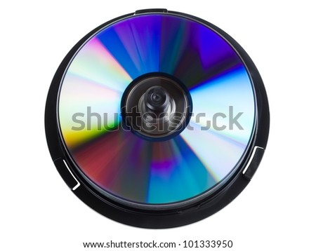 Compact disc stack isolated on white background