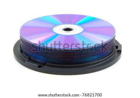 Compact disc stack over white - stock photo