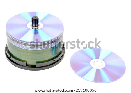 compact discs on a white background. - stock photo