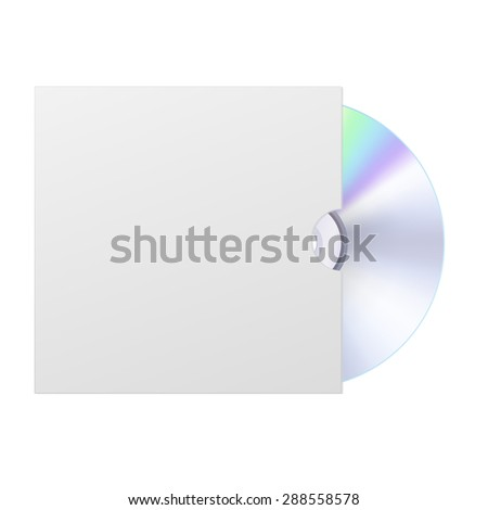 Compact disk with cover. isolated on white background. Raster version - stock photo