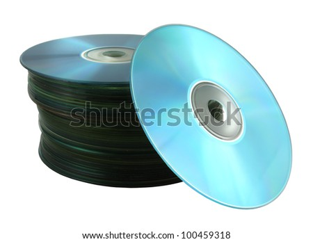 Compact disks isolated on white background (includes a clipping path)