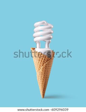 compact fluorescent bulb ice cream cone stock photo edit now