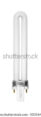 Compact fluorescent light bulb isolated over white background - stock photo