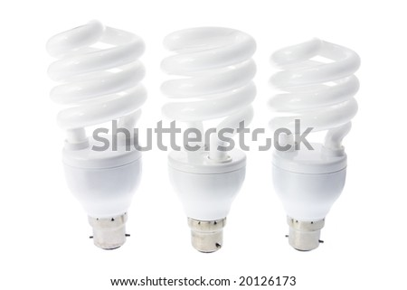 Compact Fluorescent Light Bulbs on White Background