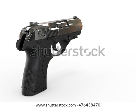 Compact hand gun with metallic chrome finish - 3D Illustration