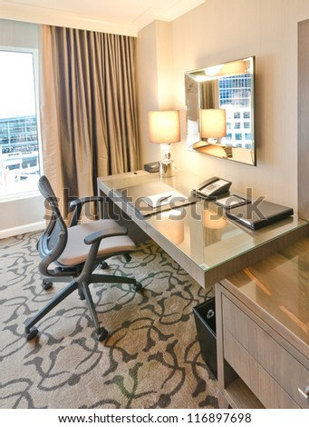 Compact modern office interior in the luxury five stars hotel. - stock photo