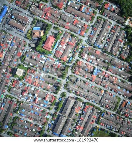 compact neighborhood aerial view - stock photo