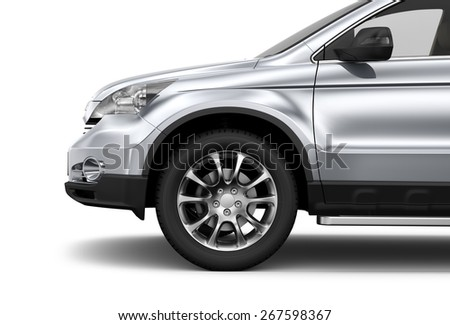 Compact silver car - cropped shot isolated on white