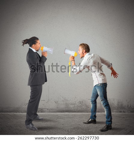 Company employee contrasts his boss screaming stronger - stock photo
