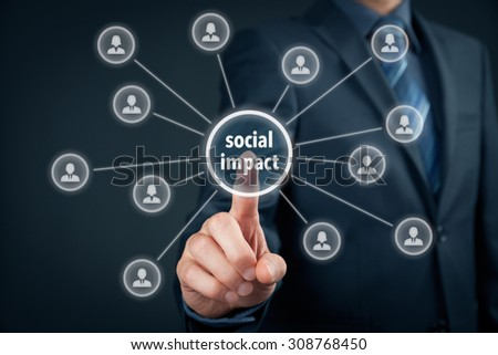 Company improve its social impact (work on influence marketing). - stock photo