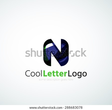 Company logo. Illustration. Made of overlapping wave elements, abstract composition. Font business icon concept - stock photo