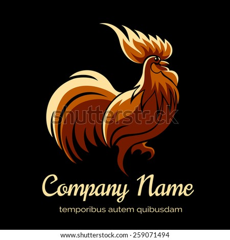 Company logo template with fire cock. Bird and animal - stock photo