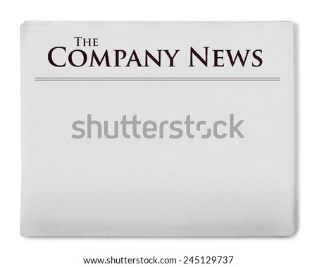 Company news title on newspaper