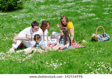 Company of friends with children having fun on a picnic - stock photo
