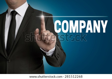 Company touchscreen is operated by businessman. - stock photo
