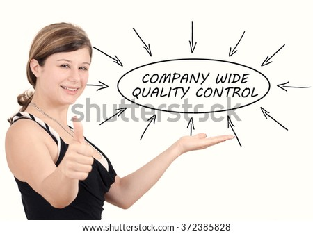 Company Wide Quality Control - young businesswoman introduce process information concept. Isolated on white. - stock photo