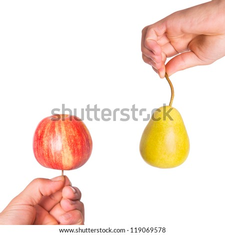 Compare apples with pears - stock photo