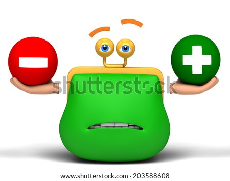 compares purse plus and minus - stock photo