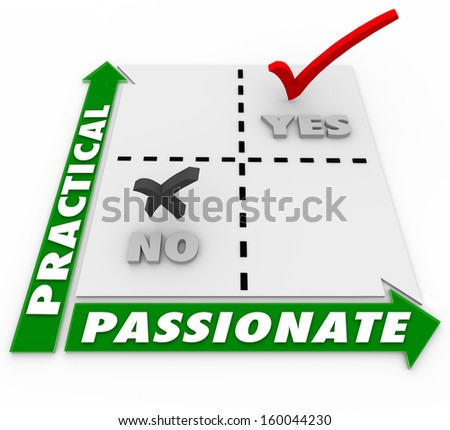 Comparing practical vs passionate options, with a matrix and yes no words to show the best strategy or plan to weigh your hopes and dreams against a reasonable and effective plan - stock photo