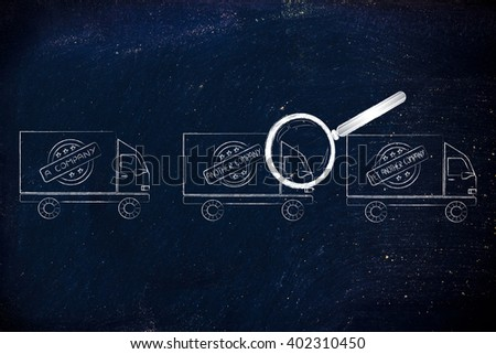 comparing shipping options: trucks from different companies and magnifying glass analyzing them - stock photo