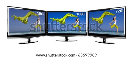 Comparison between 3 TV in parallel showing the same image in different resolutions - stock photo