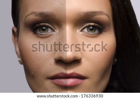 Comparison of a beautiful woman before and after retouching with photoshop, aging versus young, beauty treatment - stock photo