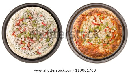 Comparison of a cooked and uncooked chicken pizza, isolated on a white background. - stock photo