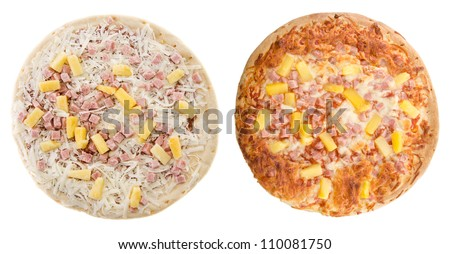 Comparison of a cooked and uncooked hawaiian pizza, isolated on a white background. - stock photo