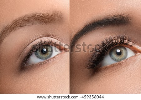 Comparison of female eyes after eyelash extension and eyebrow correction