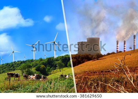 Comparison of plant renewable energy and energy factories classic. Mountain landscape clean and healthy vs dirty and polluted. - stock photo