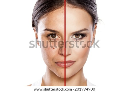 comparison portrait of a girl with and without makeup