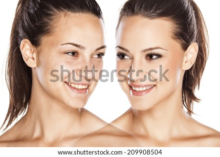 comparison portrait of a girl with and without makeup - stock photo