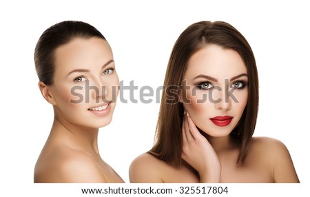 comparison portraits beautiful girl with and without makeup, before and after. left face nude makeup and right makeup and retouch. Everyday makeup with good young skin of woman - stock photo
