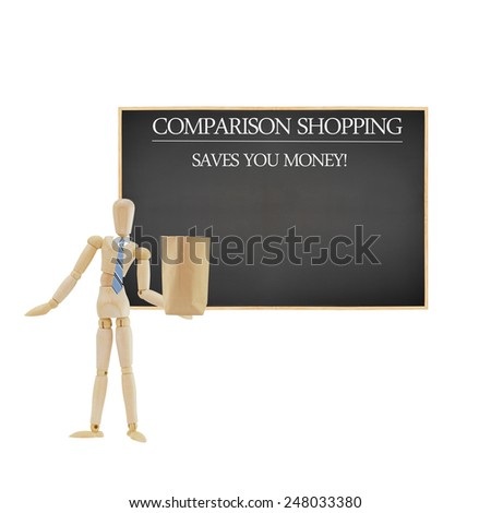 Comparison shopping saves you money written on blackboard Mannequin wearing blue tie holding brown paper bag isolated on white background - stock photo