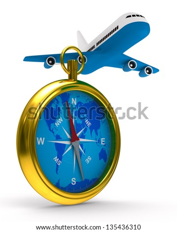 compass and airplane on white background. Isolated 3D image - stock photo