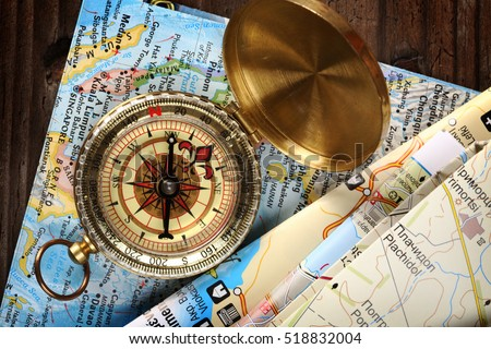 compass and maps close up