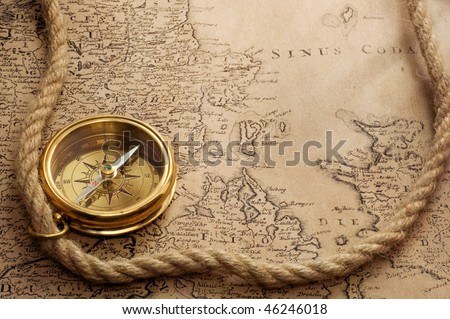 compass and old map(1856)
