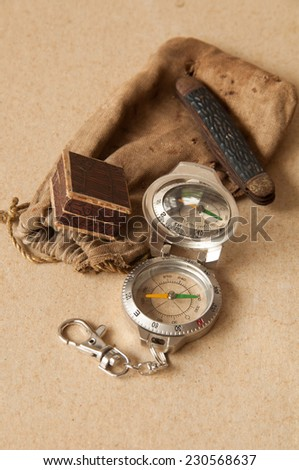 Compass, bag sack and old penknife
