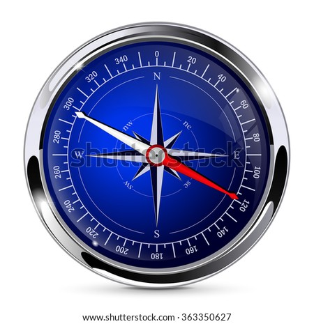 Compass. Blue compass with chrome frame.  Illustration isolated on white background. Raster version