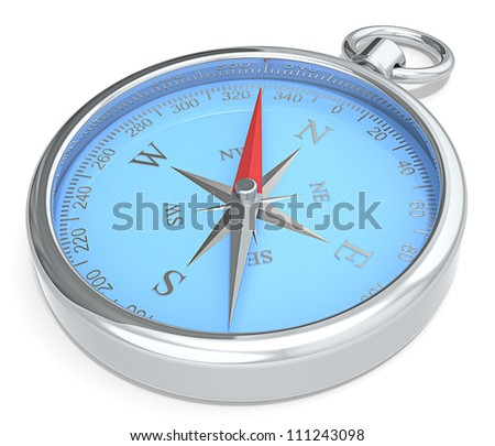 Compass. Blue Metal Compass on white background. - stock photo