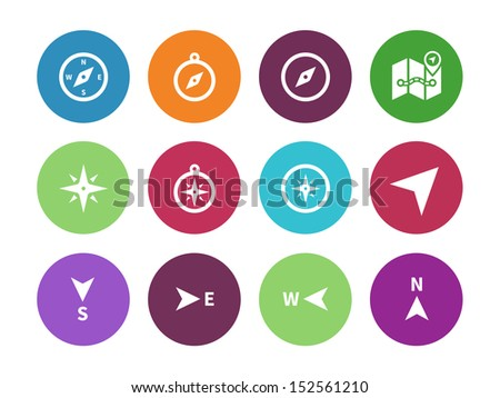 Compass circle icons on white background. See also vector version. - stock photo