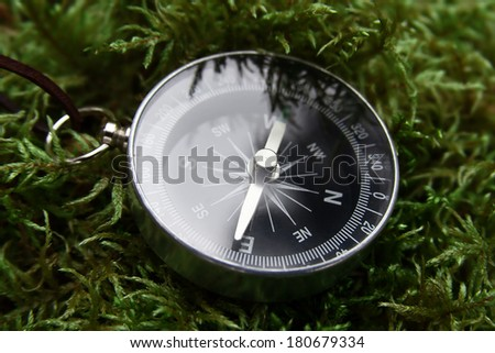 compass close-up in the woods on moss - stock photo