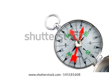 Compass close up isolated on white background. - stock photo