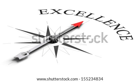 Compass concept with the needle pointing a word. Conceptual image over white for achieving competitive excellence - stock photo