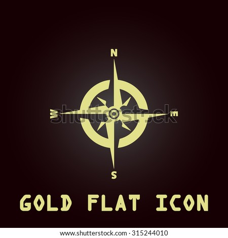 Compass. Gold flat icon. Symbol for web and mobile applications for use as logo, pictogram, infographic element - stock photo