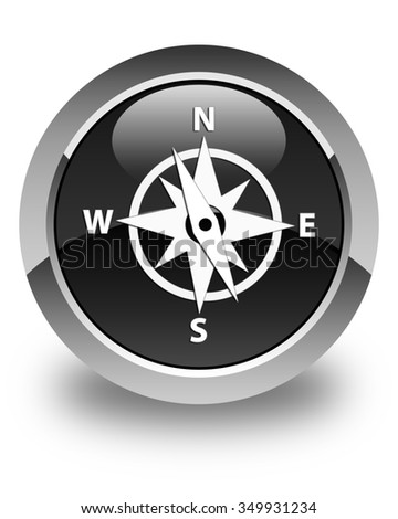 Compass icon glossy black round button