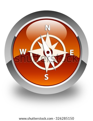 Compass icon glossy brown round button