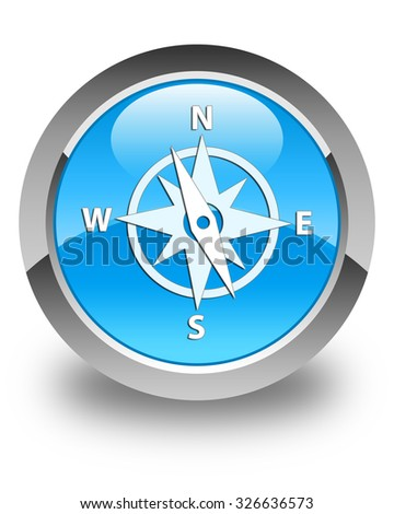 Compass icon glossy cyan blue round button