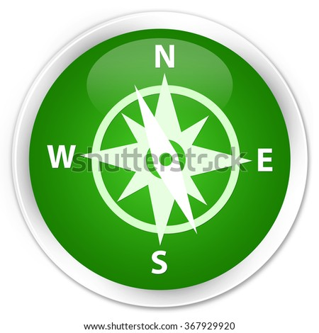 Compass icon green glossy round button