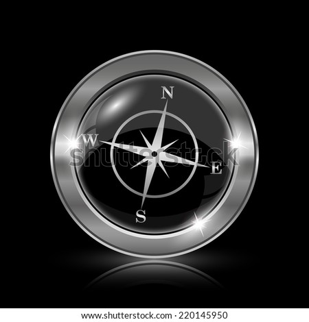 Compass icon. Internet button on black background.